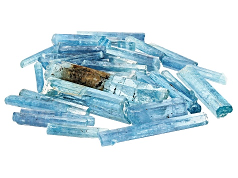 AQUAMARINE SET OF 35 VIETNAMESE UNTREATED  CRYSTALS 49.16CTW