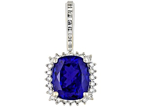 Tanzanite Cushion 11.95ct With Diamond Round And Baguette 1.08ctw 18k White Gold Enhancer