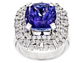 Tanzanite With Diamond 18k White Gold Ring 8.79ct Square Cushion With 1.78ctw Round And Baguette
