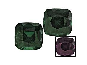 Blue Garnet Color Change Square Cushion Matched Pair 1.25ctw