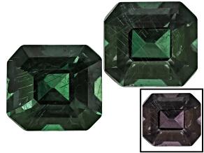 Blue Garnet Color Change 4.5x4mm Emerald Cut Matched Pair .89ctw