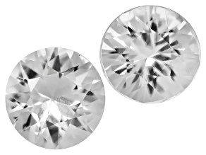White Zircon 5mm Round 1.25ctw Set Of 2
