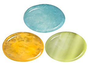 Aragonite Sea Blue Sunset Yellow And Apple Green Oval Cabochon Set 24.00ctw