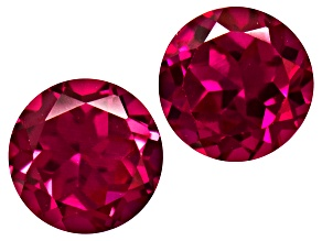 Red Ruby Created Loose Gemstone Matched Set 3.50ctw 7mm Round Brilliant
