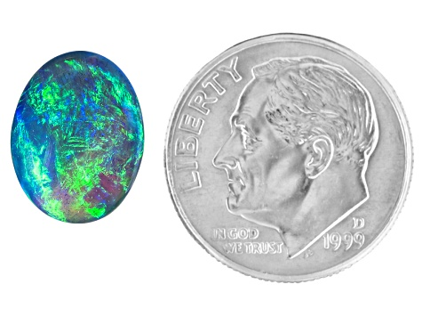 Black Opal 11.88x9.21mm Oval Cabochon 3.35ct