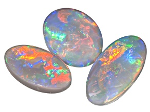 Multicolor Black Opal Oval Cabochon Set 3.80ctw