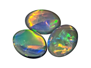 Black Opal Oval Cabochon Set 2.52ctw