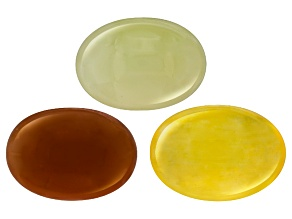 Aragonite White Brown And Yellow 14x10mm Oval Cabochon Set 20.75ctw