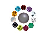 Birthstone Set Of 12 Gemstones includes 11 5mm Round Gems With One 9 To 11mm Round Tahitian Pearl