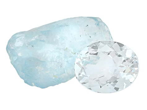 Aquamarine 10x8mm Oval 1.75ct With Free Form Rough