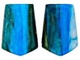 Chrysocolla Chalcedony Matched Pair 17.2x12.2mm Shield Shaped Cabochons 14.95ctw