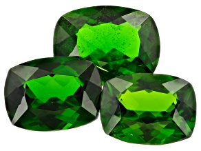 Chrome Diopside Set of 3 2 8x6mm and a 9x7mm Rectangular Cushions 4.25ctw