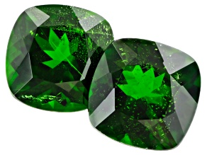 Chrome Diopside 8mm Square Cushion Matched Pair 4.25ctw
