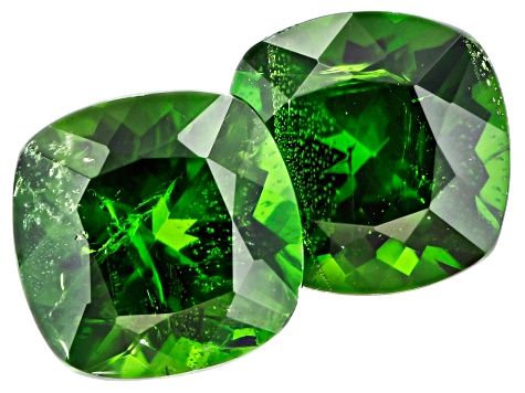 Chrome Diopside 8mm Square Cushion Matched Pair 4.18ctw