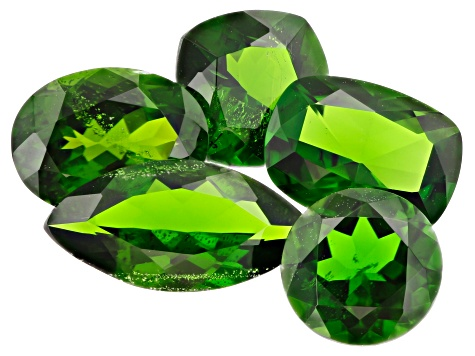 Chrome Diopside Mixed Shapes and Sizes Set of 5 7.26ctw