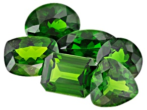 Chrome Diopside Mixed Shapes and Sizes Set of 6 10.55ctw
