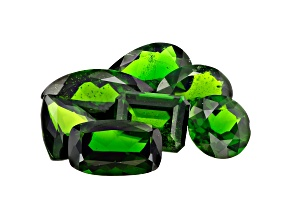 Chrome Diopside Mixed Shapes and Sizes Set of 7 15.56ctw