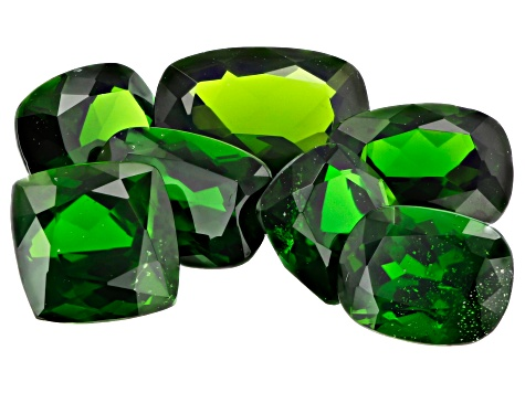 Chrome Diopside Set of 7 Mixed Sizes Square and Rectangular Cushion Cut 9.23ctw