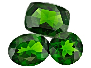 Set of 3 Russian chrome diopside 4.29ctw mixed shapes and sizes