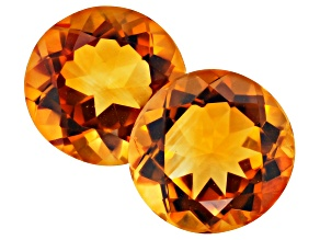 Madeira Citrine 11.5mm Round Matched Pair 9.89ctw