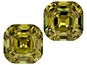 Demantoid Garnet 7.5mm Square Cushion Matched Pair 4.57ctw