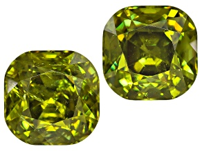 Garnet Demantoid 7mm Square Cushion Matched Pair 4.58ctw