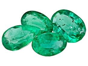 Zambian Emerald 2.17ct Set Of 4: Varies mm Varies Shape