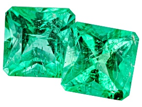 Emerald Ethiopian Matched Pair 1.57ctw 5.5mm Square Octagonal Princess Cut