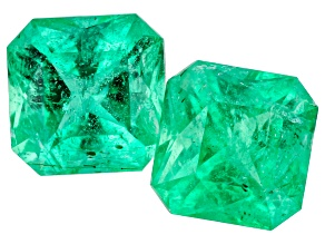 Emerald Ethiopian Matched Pair 1.62ctw 5.5mm Square Octagonal Princess Cut