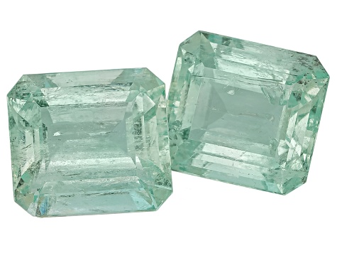 Green Beryl 15x13.5mm Emerald Cut Matched Pair 23.59ctw