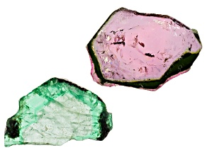 Mixed Emerald & Tourmaline Set-2 17.43 Ctw Free Form Slice