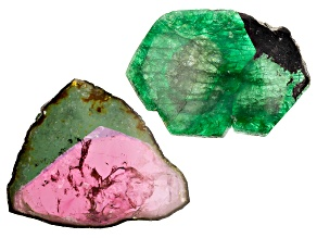 Mixed Emerald & Tourmaline Set-2 86.62 Ctw Free Form Slice