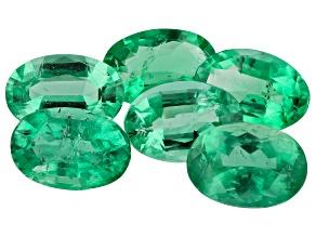 2.62ct Zambian Emerald Set Of 6: 6x4mm Oval Mined: Zambia/Cut: india