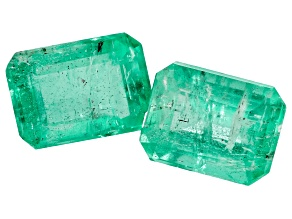 1.92ct Zambian Emerald Set Of 2: 7x5mm Rect Oct Mined: Zambia/Cut: india