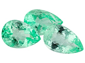 2.92ct Colombian Emerald Set Of 3: 8.5x6mm Pear Mined: Colombia/Cut: Colombia