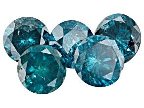 5.53ct Blue Diamond Varies mm Set Of 5 Nicks/ Included Round