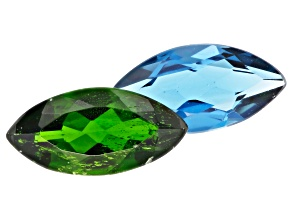 Chrome Diopside and London Blue Topaz 12x6mm Marquise Set of 2 3.51ctw