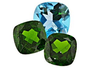 Chrome Diopside and London Blue Topaz Square Cushion Set of 3 5.76ctw