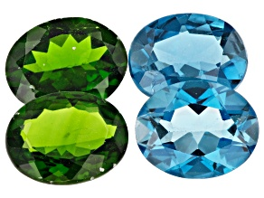 Chrome Diopside and London Blue Topaz 10x8mm Oval Set of 4 9.67ctw