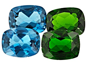 Chrome Diopside and London Blue Topaz 9x7mm Rectangular Cushion Set of 4 8.59ctw