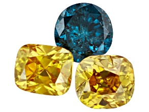 Fancy Yellow and Blue Diamond Set of 3 Mixed Shapes and Sizes 1.15ctw