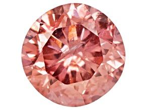 Fancy Deep Orange Pink Diamond Round Brilliant Cut .09ct