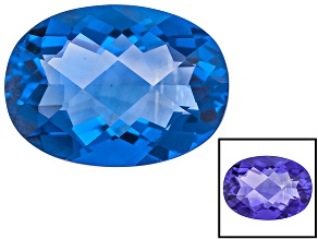 Blue Color Change Fluorite 6.00ct 14x10mm Checkerboard Cut Oval
