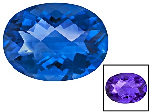 Blue Color Change Fluorite 10.00ct 16x12mm Checkerboard Cut Oval