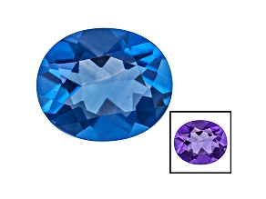 Blue Fluorite Color Change 12x10mm Oval 5.00ct