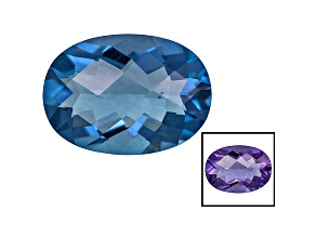 Blue Fluorite Color Change 14x10mm Oval Checkerboard Cut 5.50ct