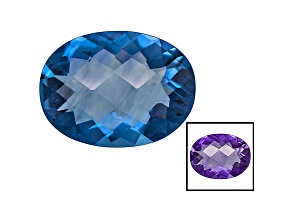 Blue Fluorite Color Change 16x12mm Oval Checkerboard Cut 6.00ct