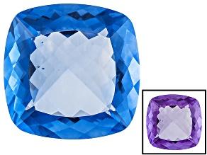 Blue Color Change Fluorite 50.00ct 22mm Square Cushion