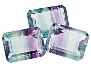 Bi-Color Fluorite 18x13mm Emerald Cut Set of 3 37.50ctw