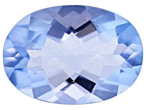 Blue Fluorite 14x10mm Oval Checkerboard Cut 6.00ct